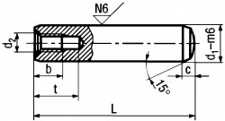 DIN7979D Pull Dowel Pin - product drawing - L=OAL,d1=dia., c=crown length, t=hole length, b=thread length, t=hole length