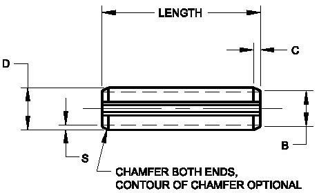 Inch Spring Pin P314 - product drawing - c=chamfer length, d=dia.,b=end dia.