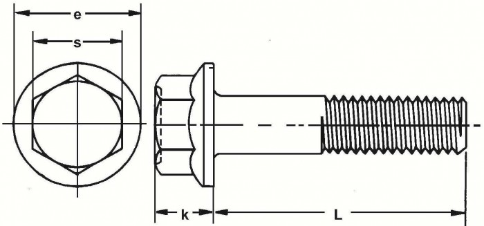 JIS B1189 Hex Flange Bolt - product drawing - L= shank length, k=head height