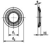 NEF25-511 Contact Conical Spring Washer - product drawing - d1=ID,d2=OD, e=thickness, Hi=Height