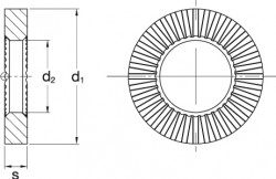 W209 Ripp Lock Washer - Product Drawing - d1=OD, d2=ID, s=thickness