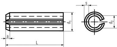 DIN1481 Heavy Duty Spring Pin - product drawing - d1=OD, d2=ID, s=thickness, L=OAL, a=chamfer length