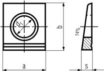 DIN435 Square Taper Washer - product drawing - a&b=width, d1=dia. s=clipped width