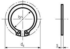 DIN471 External Retaining Ring - product drawing - d3=ID, d4=OD, s=thickness
