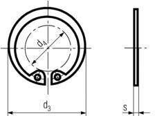DIN472 Internal Retaining Ring - product drawing - d4=ID, d3=OD, s=thickness