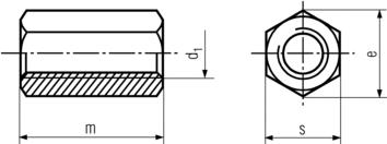 DIN6334 Hex Coupling Nut - product drawing - d1=ID,s=width A/F, e=width A/C, m=height