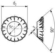 DIN6798V Serrated Countersunk Washer 90 degree - product drawing - d1=ID, d2=OD, s=thickness