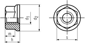 DIN6923 Hex Flange Nut - product drawing - d1=ID, d2=OD, h=overall heigth