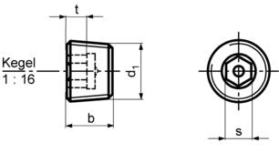 DIN906 Hex Socket Pipe Plug - product drawing - b=height, d1=dia.,s=socket dia A/F