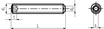 DIN916/ISO4029 Socket Set Screw Cup Point - product drawing - L=length, d1=dia., d2=point dia., t=socket depth