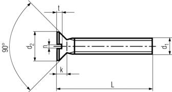 DIN963 Slotted Flat Head Countersunk Machine screw - product drawing - L=length (incl. head), d1=dia.,