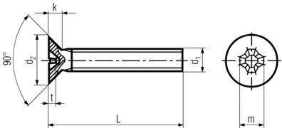 DIN965 Phillips Flat Head Countersunk - product drawing - L=length (incl. head), d1=dia., d2=head dia.,