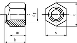 DIN982 Tall Nylon Insert Hex Nut - product drawing - d1=ID, h=height, m=thread lenght, s=width A/F, e=width A/C