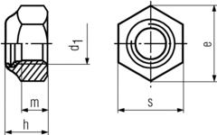 DIN985 Nylon Insert Hex Lock Nut - product drawing - d1=ID, h=height, m=thread length, s=width A/F, e=width A/C