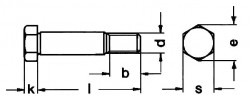 DIN610 Hex Fit Bolt - Product drawing - L=length,k=head height,b=thread length, d= dia.,s= Width A/F, e=Width A/C