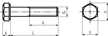 DIN931 Hex Cap Screw Full Thread HDG - Product Drawing -d1= Dia, L=shank Length, b=Thread Length, k= Head Height